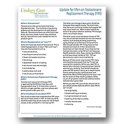 Patient Update on Testosterone Replacement Therapy (TRT) Fact Sheet